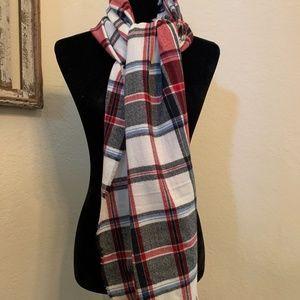 J.jill yarn-dyed Tartan Plaid Fringed Scarf